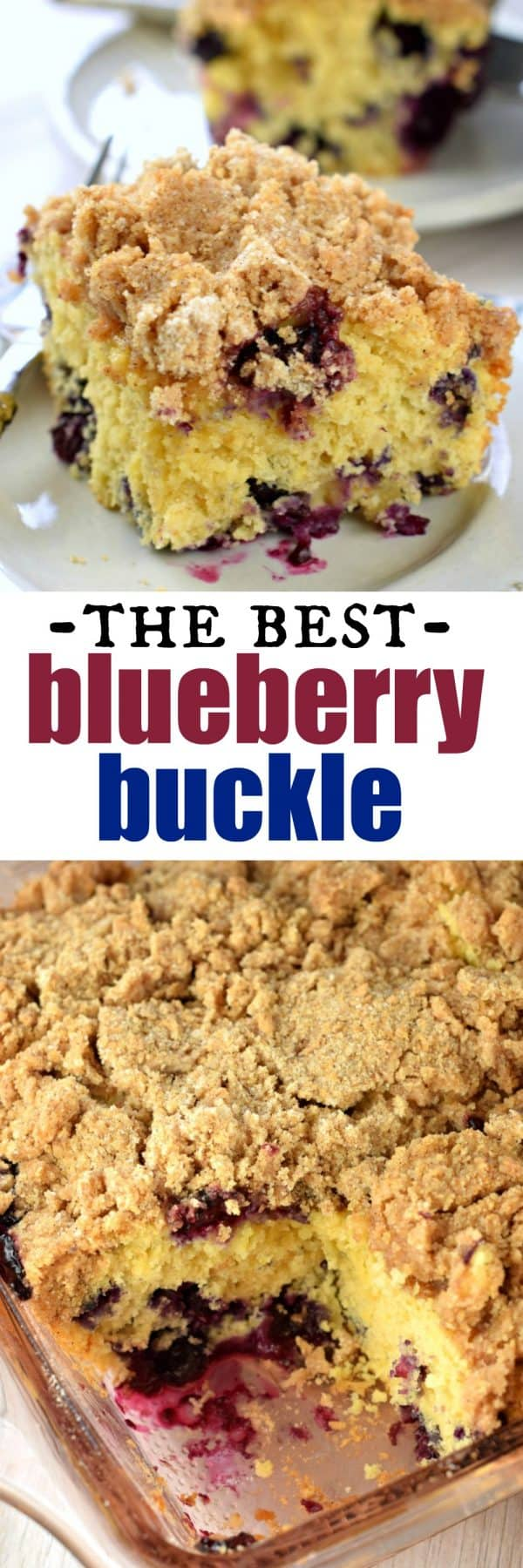 Tender and moist, this Blueberry Buckle Breakfast Cake recipe is the perfect start to your day. Packed with fresh berries and topped with a thick cinnamon streusel, you'll love a slice for breakfast or dessert!