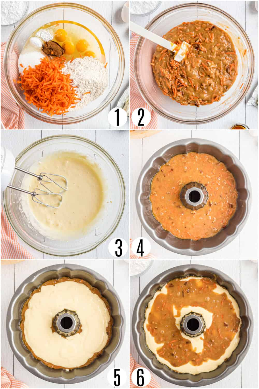 Step by step photos showing how to make carrot cake in a bundt pan.