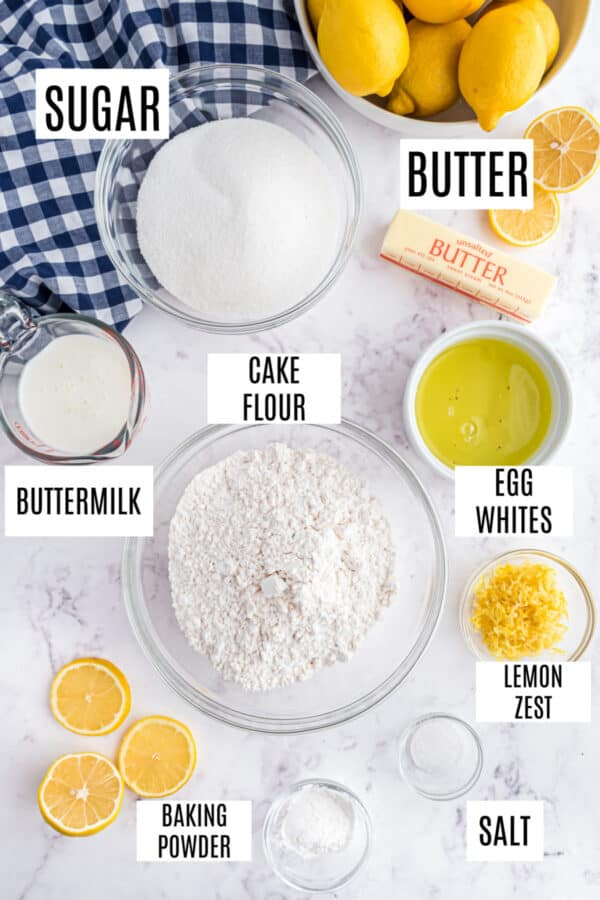 Ingredients needed to make homemade lemon cake with lemon curd filling.
