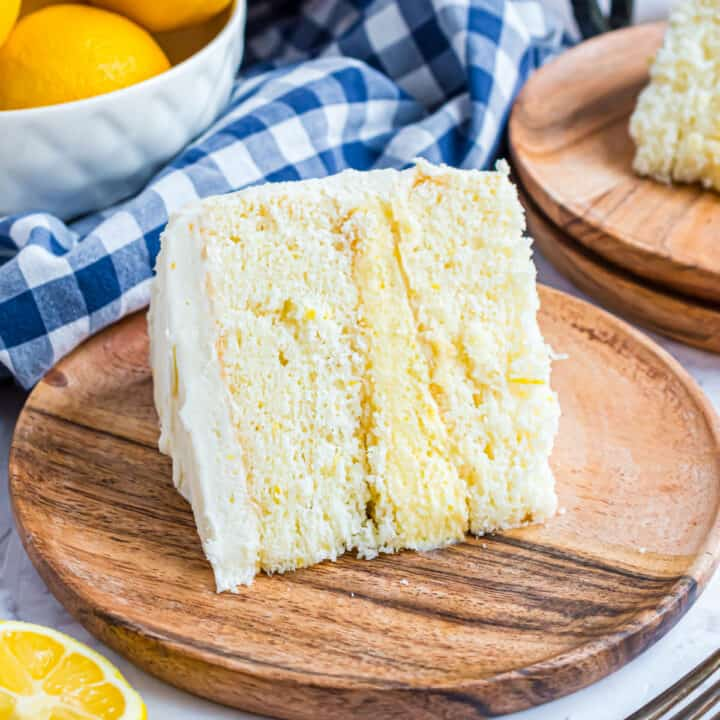 Lemon layer cake with lemon curd filling and lemon frosting.