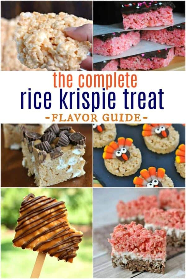 I've created THE ULTIMATE Rice Krispie Treat Flavor Guide. Everything you need to know about how to make Rice Krispie Treats with all the fun flavors and styles!