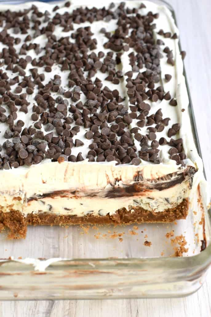 No Bake Chocolate Chip Cookie Lasagna - layers of chocolate chip cookies, creamy cheesecake, fudge pudding, and whipped cream!