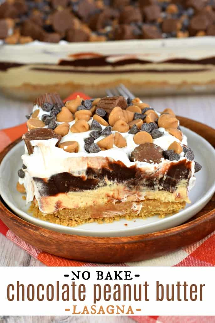 Slice of no bake layered peanut butter and chocolate lasagna on a white plate.