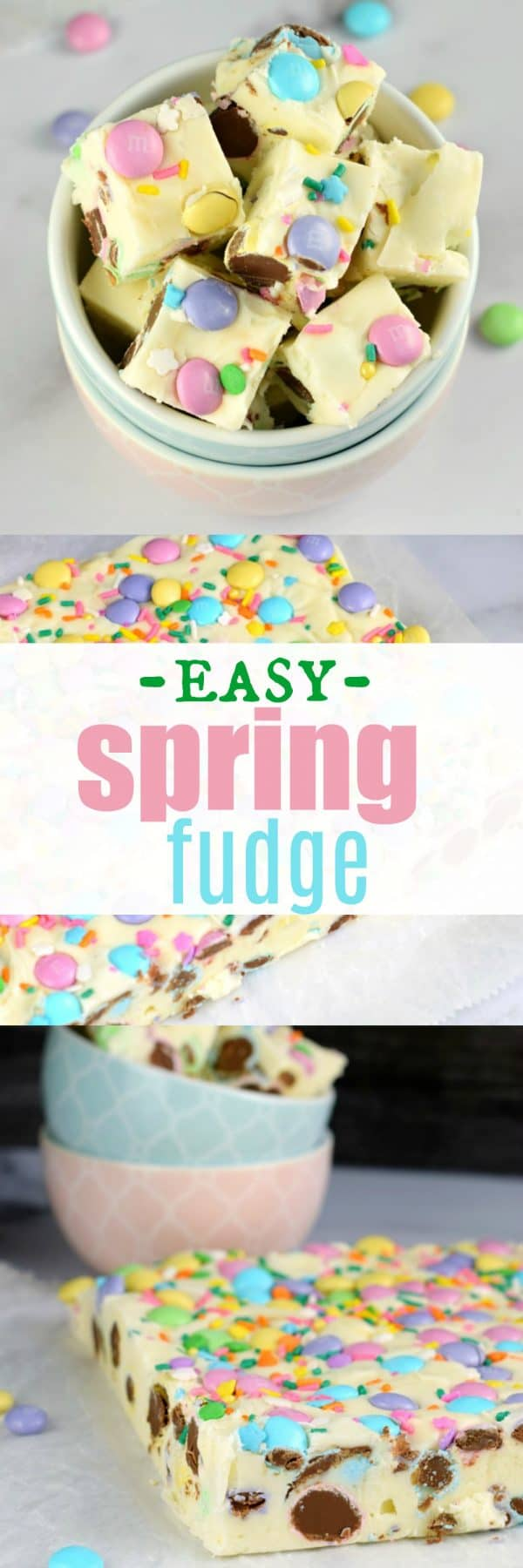 No matter the Spring holiday, this easy Easter Fudge recipe is perfect. Vanilla Fudge with pastel candies and sprinkles! #holidays #candy #fudge #easter #homemadecandy