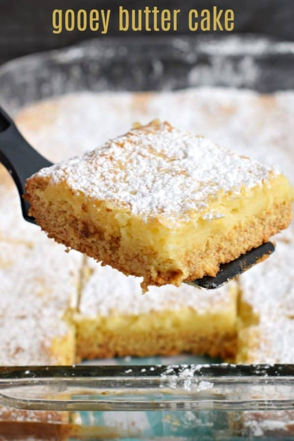 A St Louis tradition, this Gooey Butter Cake is simplified with it's easy cake mix option! Chewy Butter Cake crust with a gooey filling!
