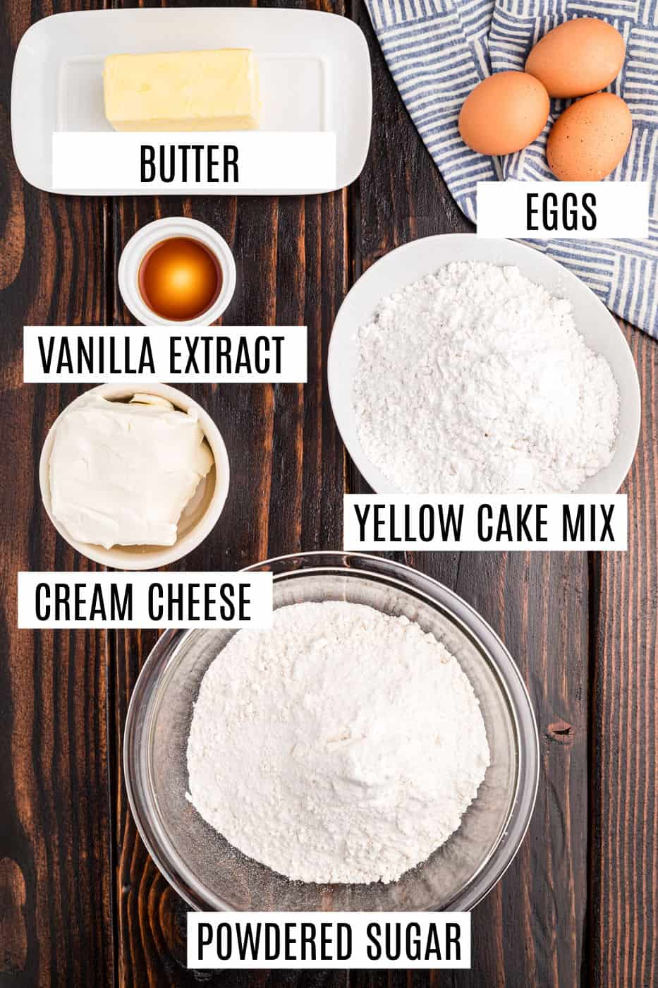 Ingredients needed for gooey butter cake recipe.