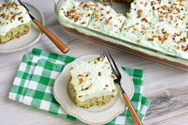 ThisWatergate Sheet Cakeis nutty and moist thanks to pistachio pudding and pecans. Topped with a sweet, lightwhipped cream topping and coconut, this cake has it ALL, and it's easy to make too!