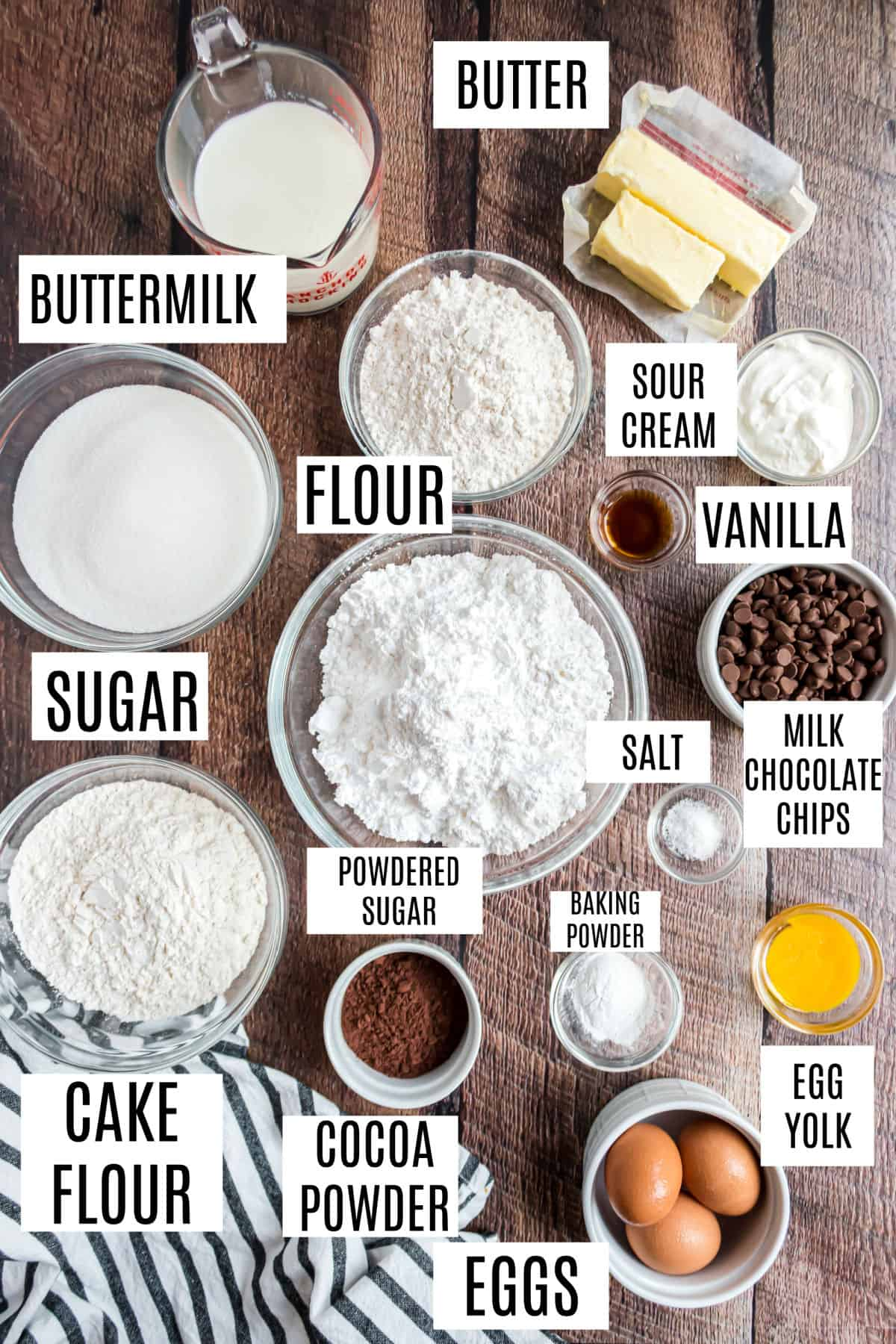Ingredients needed to make a yellow layer cake.
