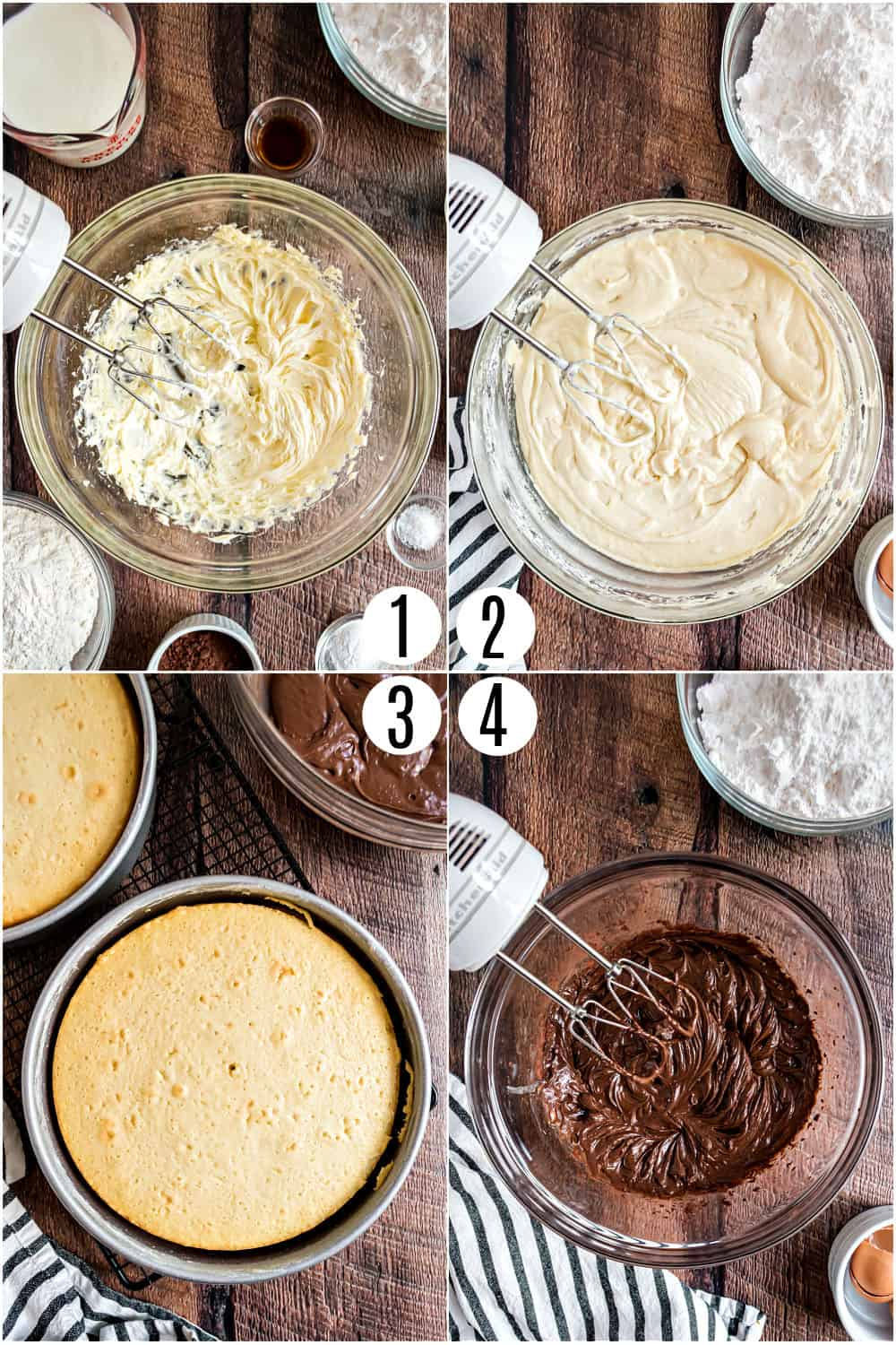 Step by step photos showing how to make yellow cake with fudge frosting.