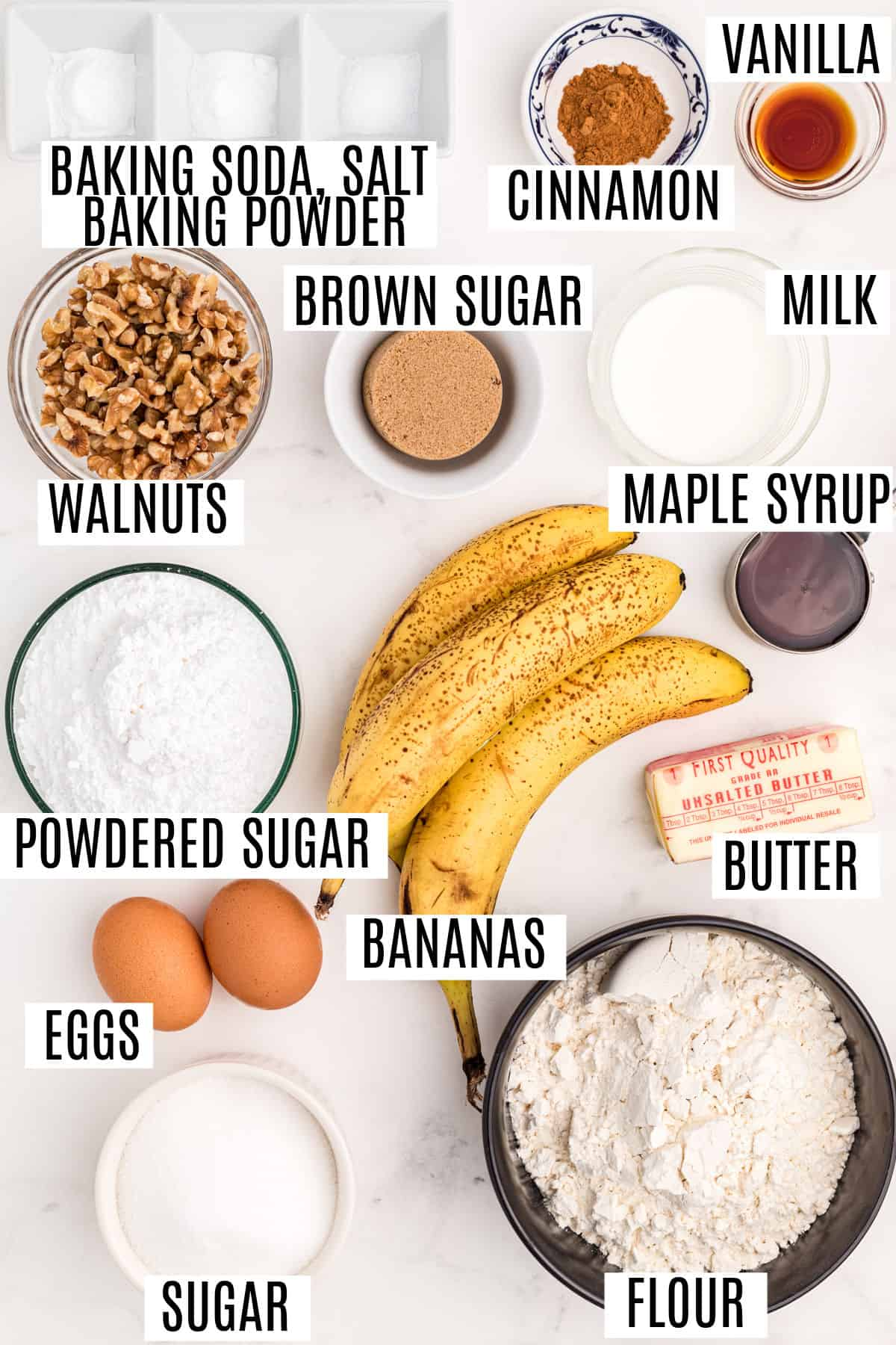 Ingredients needed for banana coffee cake recipe.