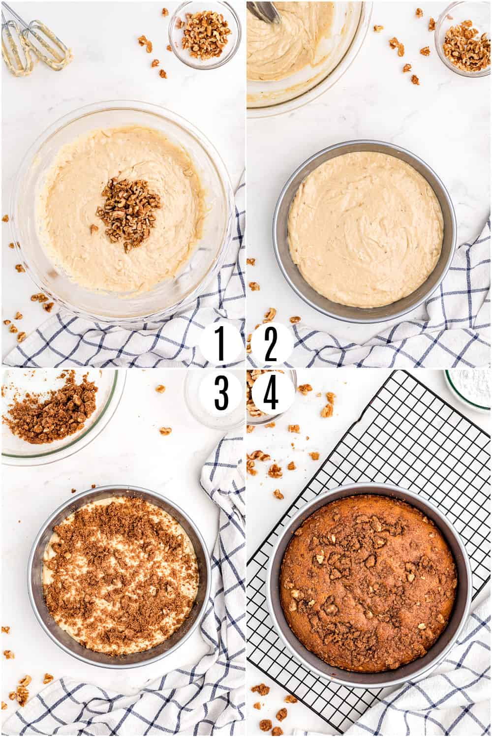 Step by step photos showing how to make banana coffee cake.