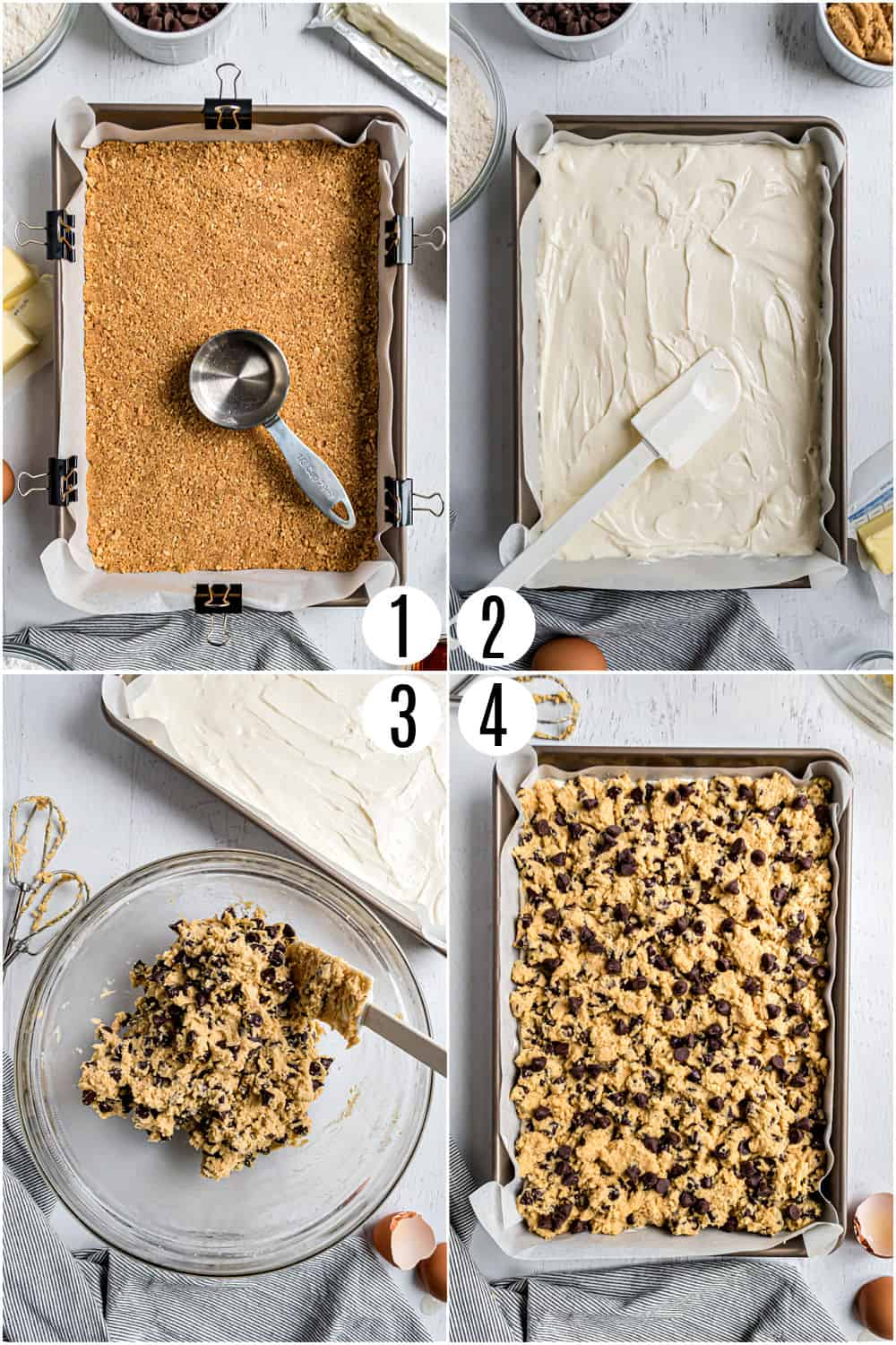 Step by step photos showing how to make chocolate chip cheesecake bars.