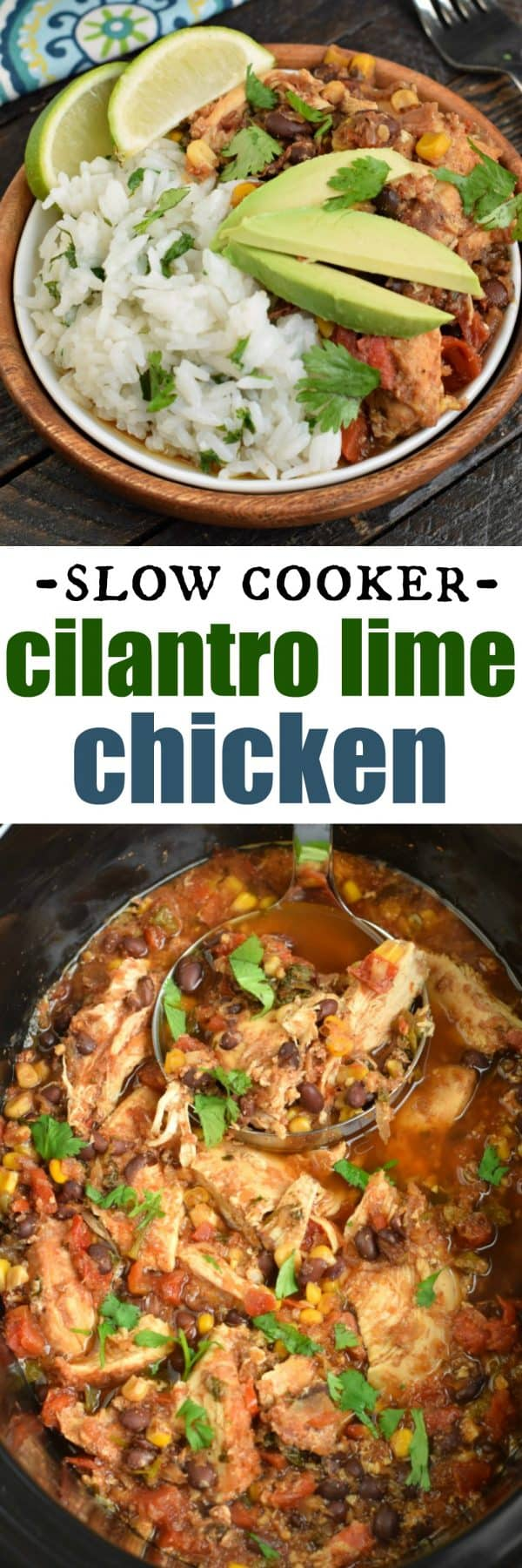 Cilantro Lime Chicken made in the crockpot (slow cooker) or as a freezer meal is packed with flavor! You're family is going to love this dinner, you're going to love how easy it is to prepare!