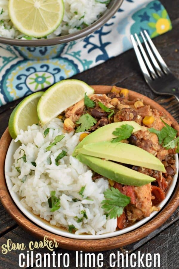 Cilantro Lime Chicken made in the crockpot or as a freezer meal is packed with flavor! You're family is going to love this dinner, you're going to love how easy it is to prepare!