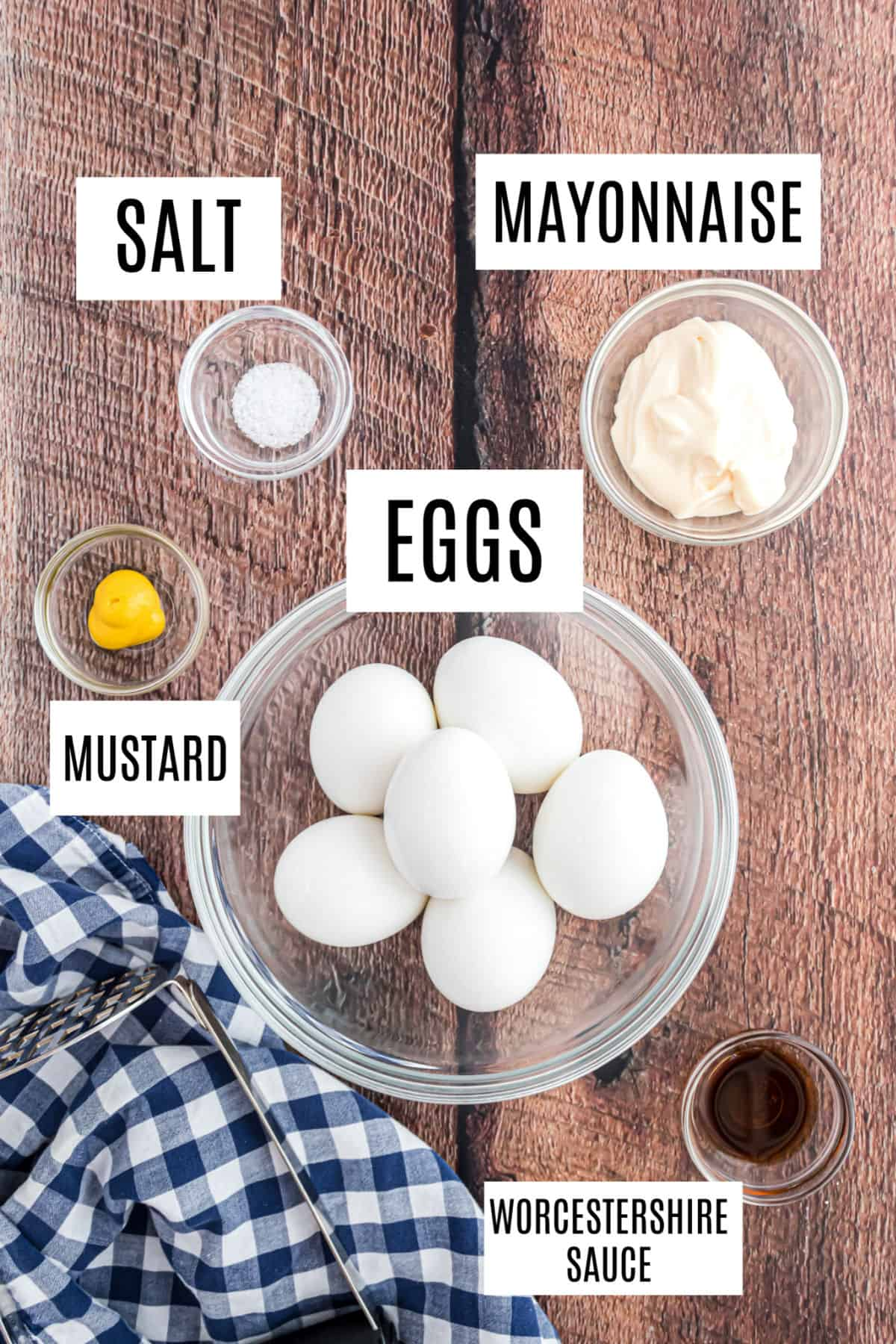 Only 5 ingredients for egg salad.