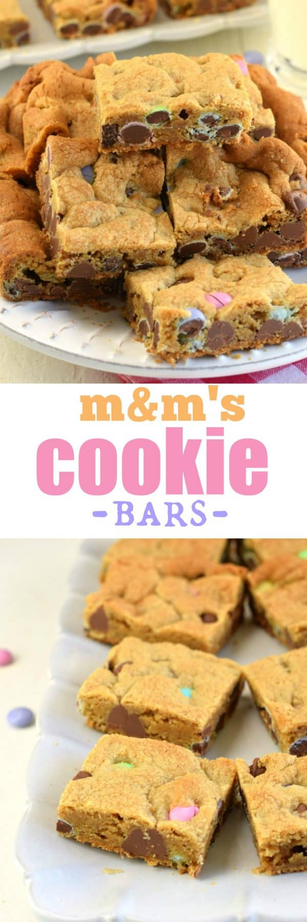 Soft and chewy M&M's Cookie Bars. Packed with brown sugar and chocolate, you won't be able to resist these cookie bars!