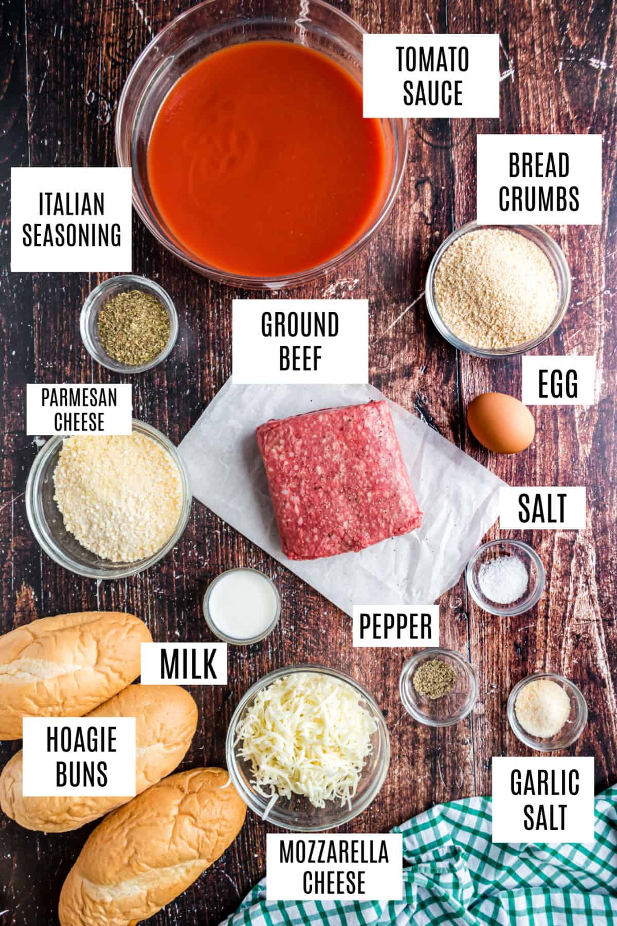 Ingredients needed for meatball subs in the slow cooker.