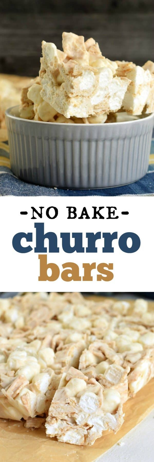 Easy No Bake Churro Bars with only 3 ingredients. Perfect for any time of year!