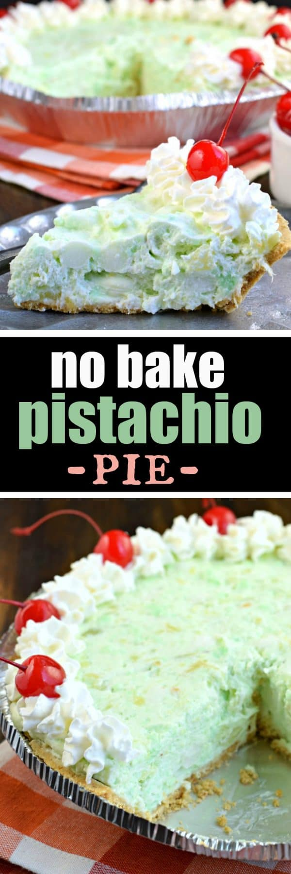 Deliciously easy No Bake Pistachio Pie recipe is filled with cream cheese, pineapple, and marshmallows in a graham cracker crust! You'll love this sweet treat at your next potluck or holiday party. #nobake #pistachio #pudding #dessertrecipes
