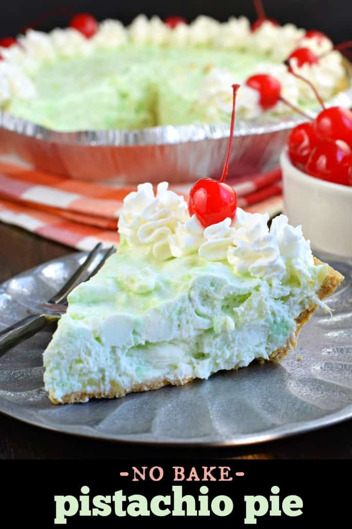 Deliciously easy No Bake Pistachio Pie recipe is filled with cream cheese, pineapple, and marshmallows in a graham cracker crust! You'll love this sweet treat at your next potluck or holiday party.