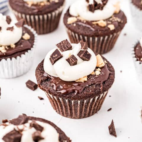 Bring the campfire experience indoors with these S'mores Cupcakes! Rich, fudgy chocolate cupcakes are topped with chocolate ganache, marshmallow frosting and graham cracker crumbs. Experience the summer time s'mores magic all year long!