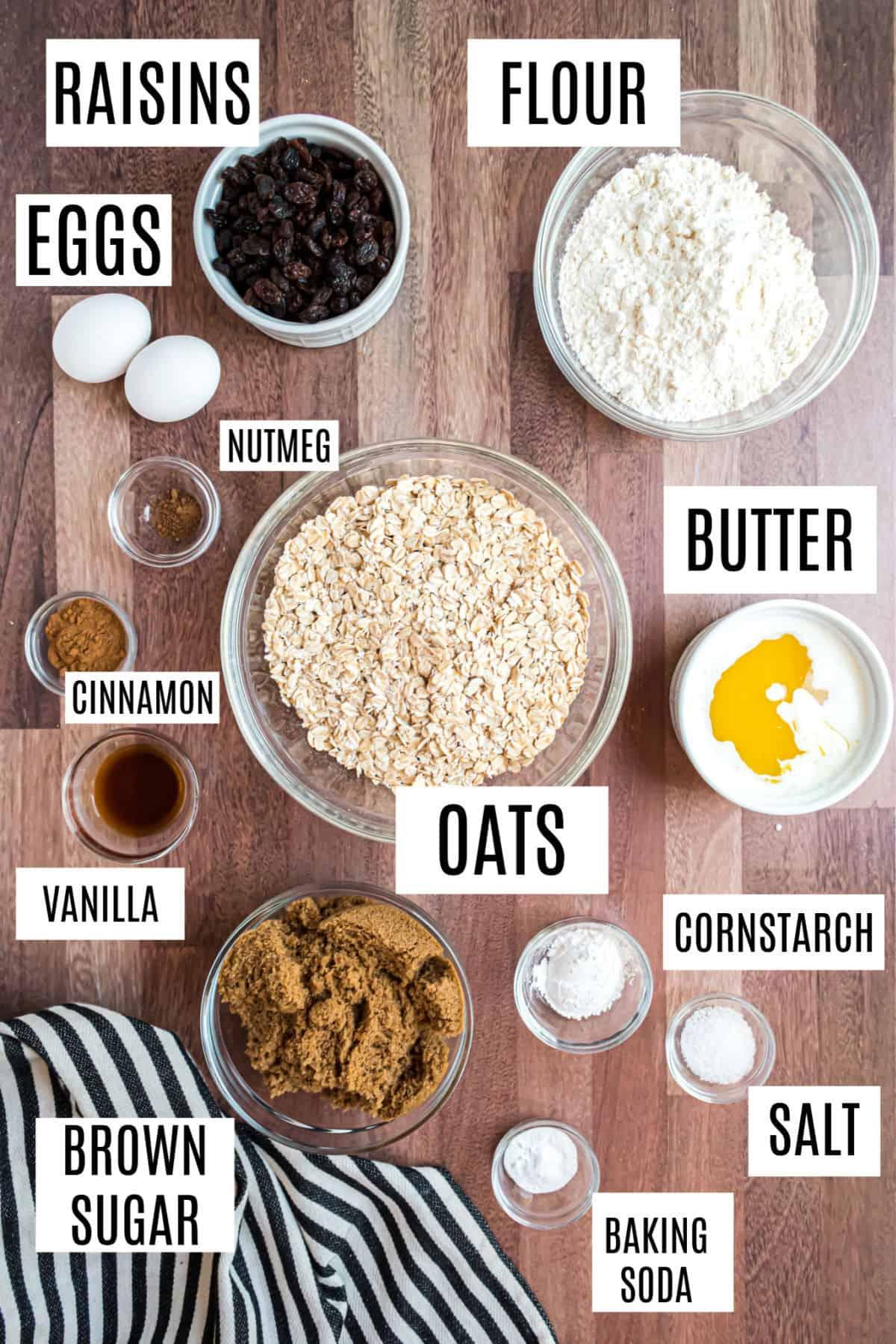 Ingredients needed for oatmeal raisin cookies.