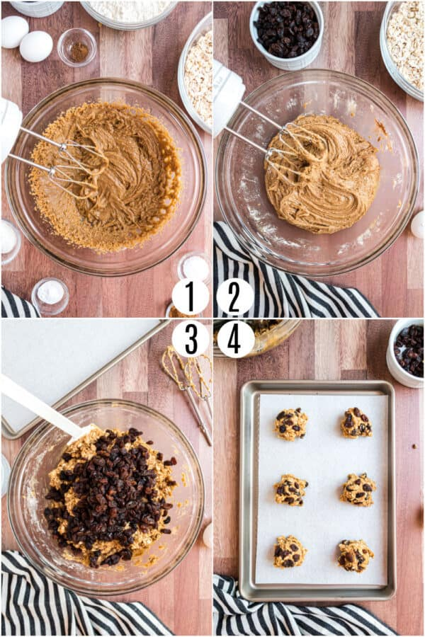 Step by step photos showing how to make oatmeal raisin cookies.
