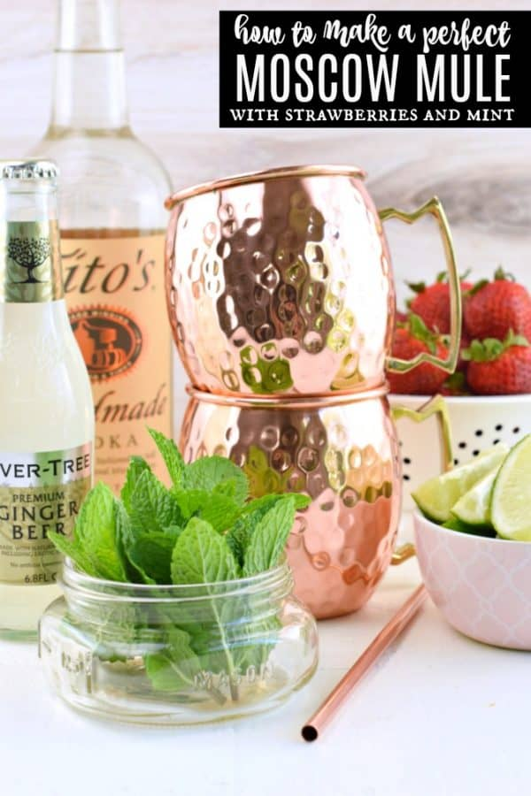 Strawberry Moscow Mule is the perfect, slightly spicy, summertime cocktail. You'll love how easy it is to make, but don't forget to serve your moscow mule in a copper mug!