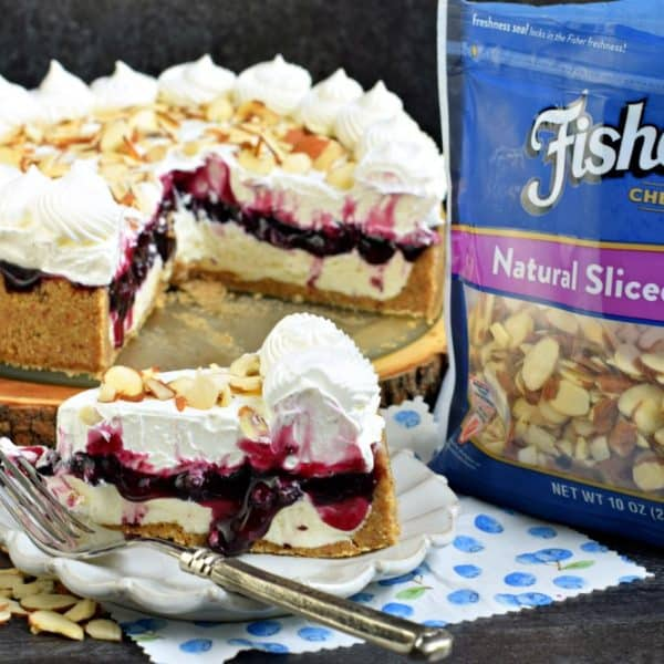 No Bake Blueberry Cheesecake recipe with almonds and a graham cracker crust. An easy dessert idea for summer, or any holiday!