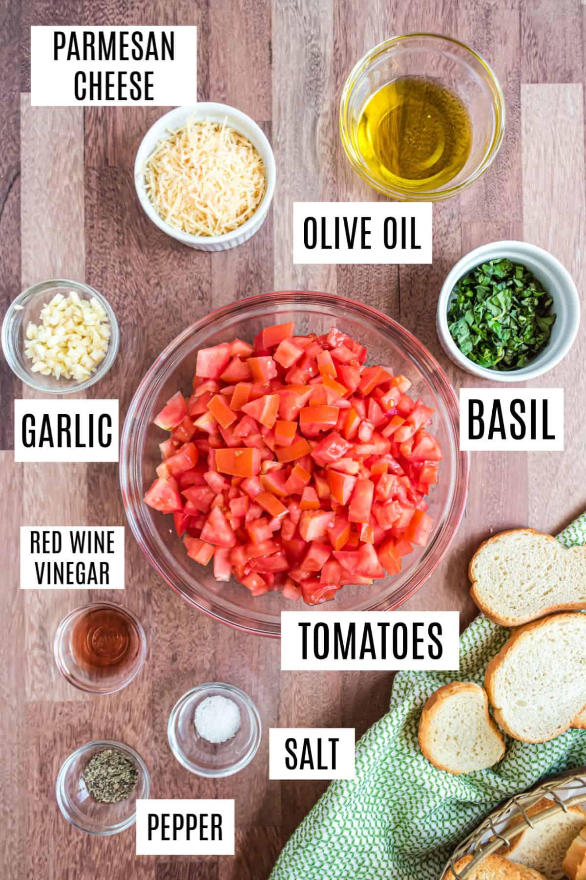 Ingredients needed for homemade bruschetta.