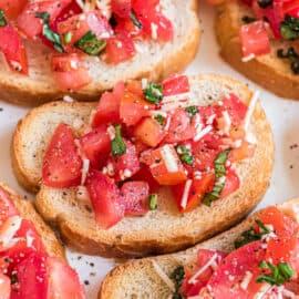Bruschetta on slices of toasted bread.