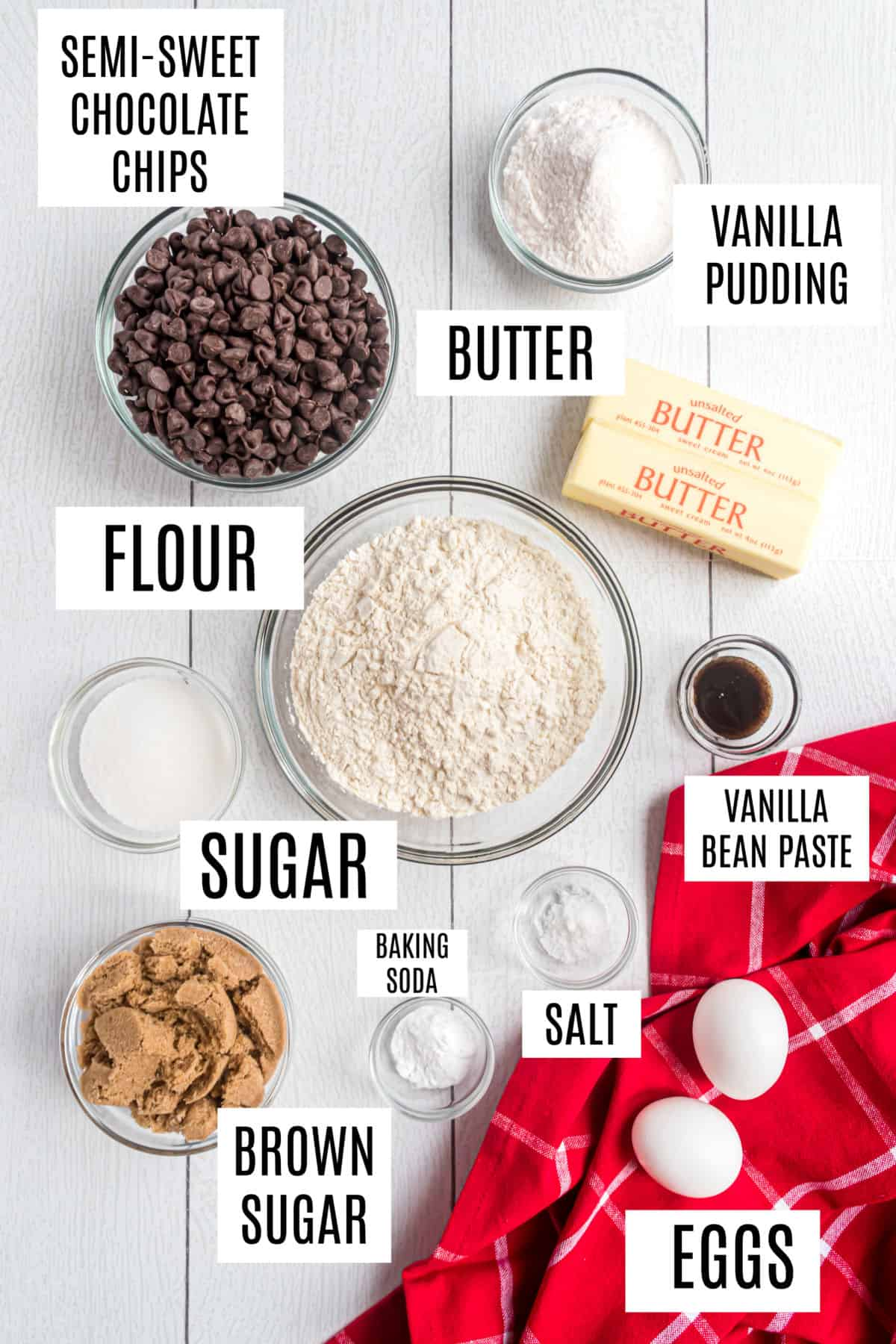 Ingredients needed to make chocolate chip cookies with pudding mix.