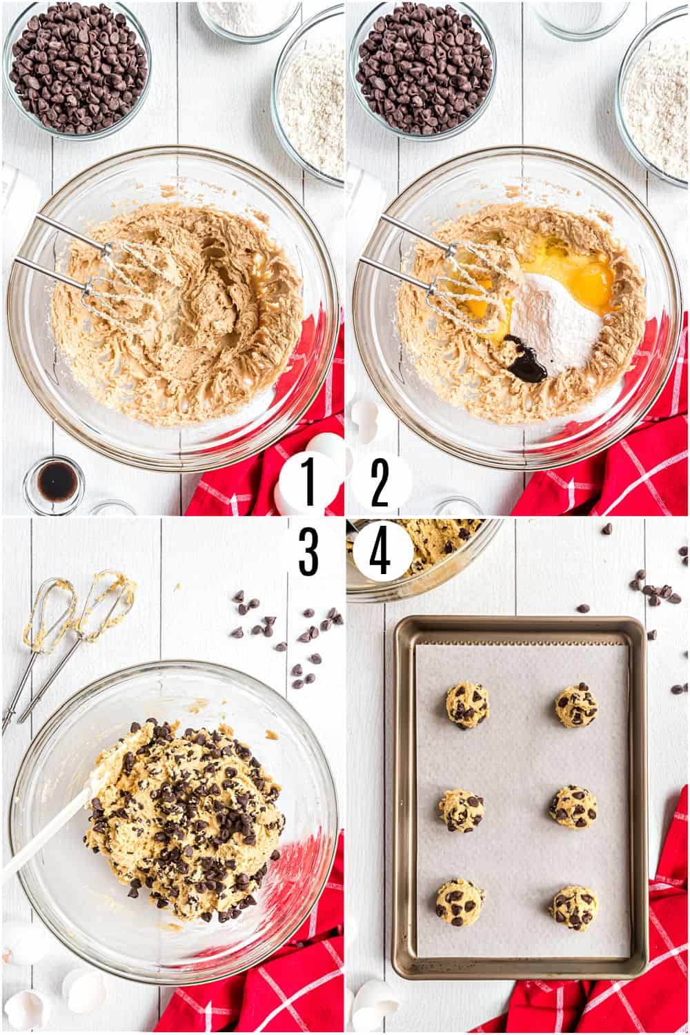 Step by step photos showing how to make chocolate chip cookies with pudding mix.
