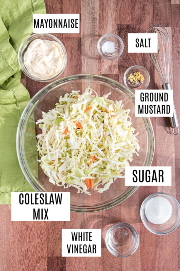 Ingredients needed for chick-fil-a coleslaw recipe.