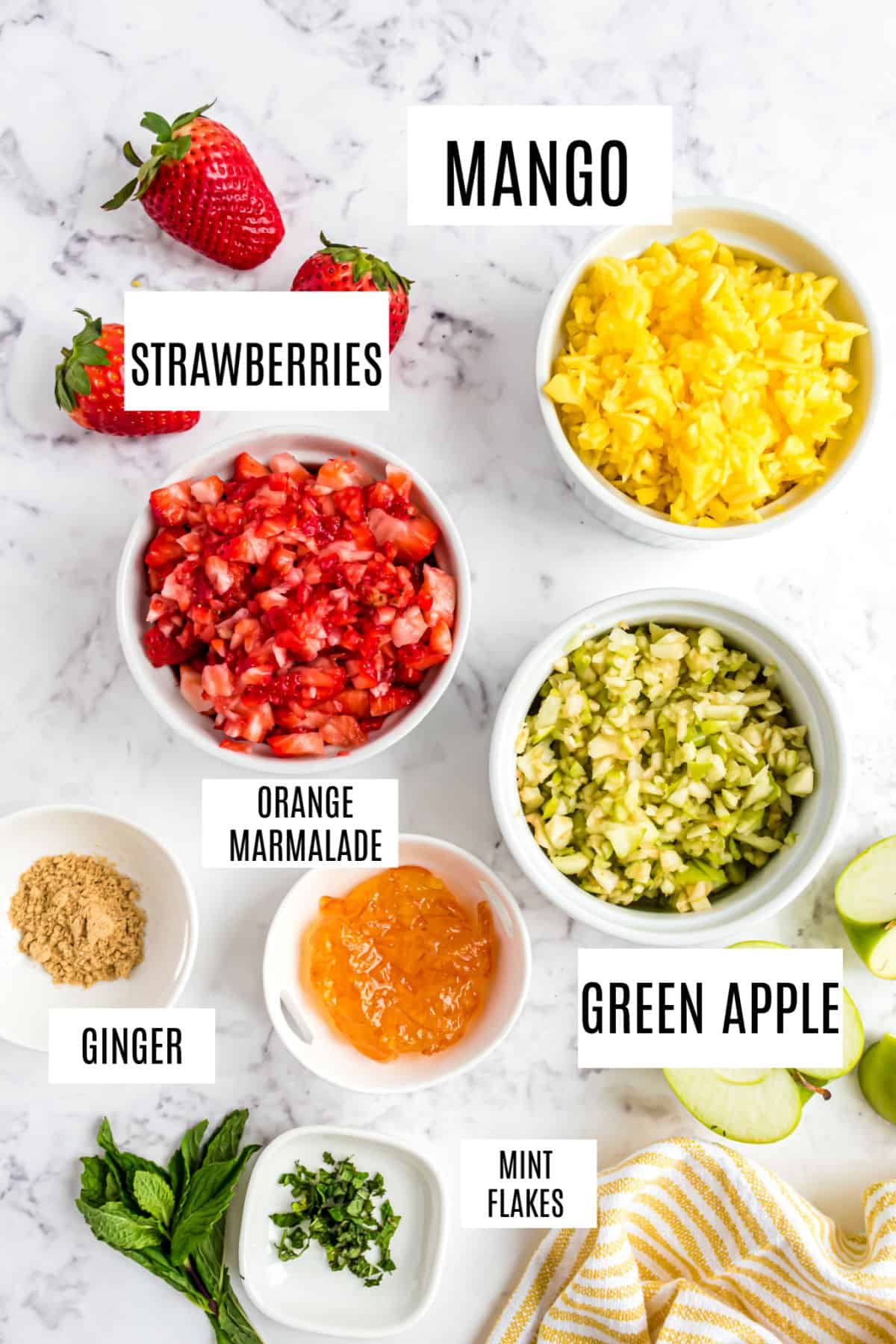 Ingredients needed for homemade fruit salsa recipe.