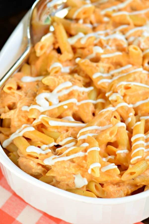 Buffalo Chicken Pasta Casserole is an easy chicken dinner packed with cream cheese, buffalo sauce, and cheese. Just like buffalo chicken dip, once you start eating it's hard to stop!