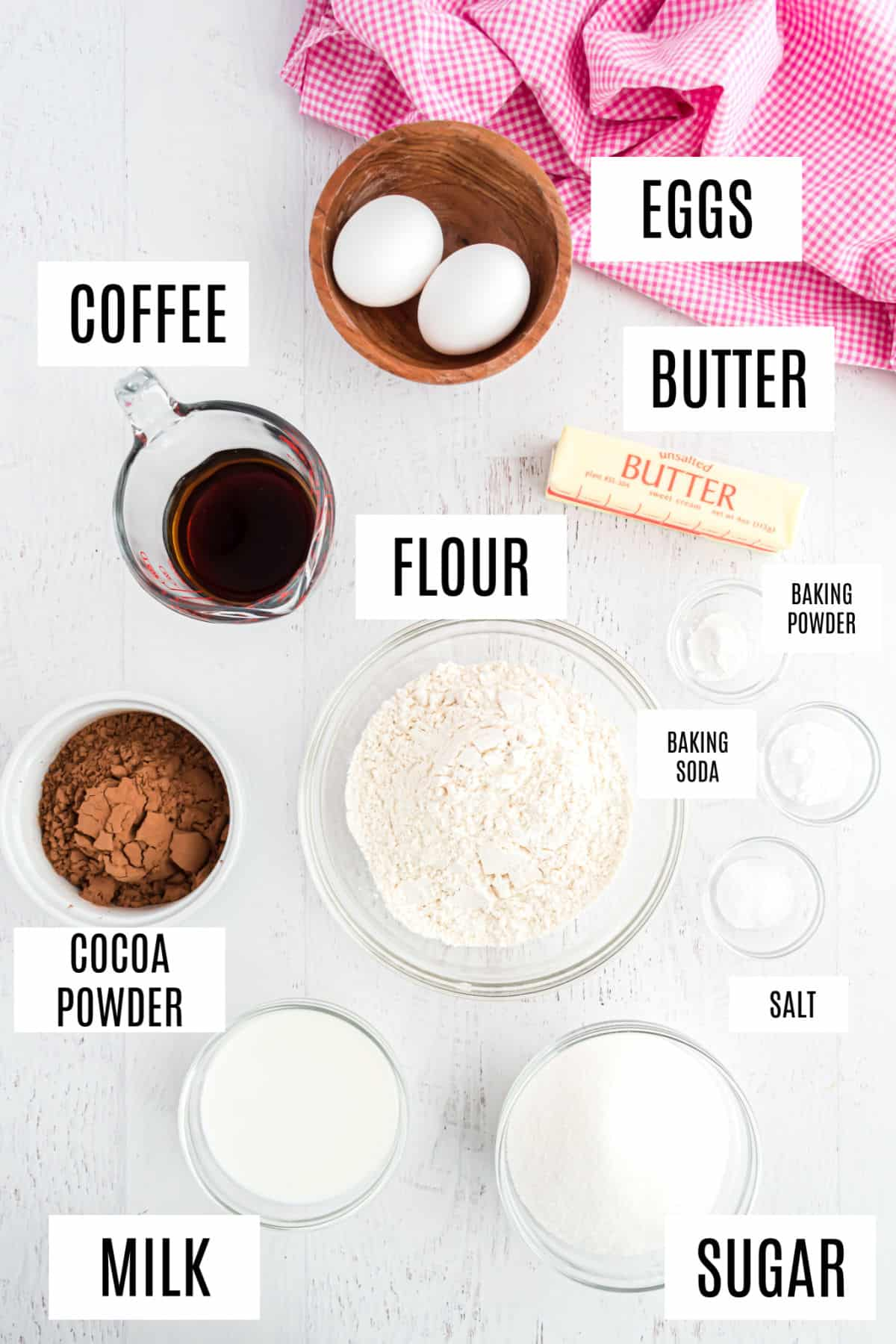 Ingredients needed to make the most amazing chocolate cake recipe.