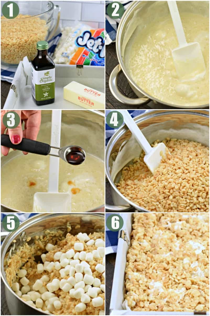 Step by step photos of how to make rice krispie treats