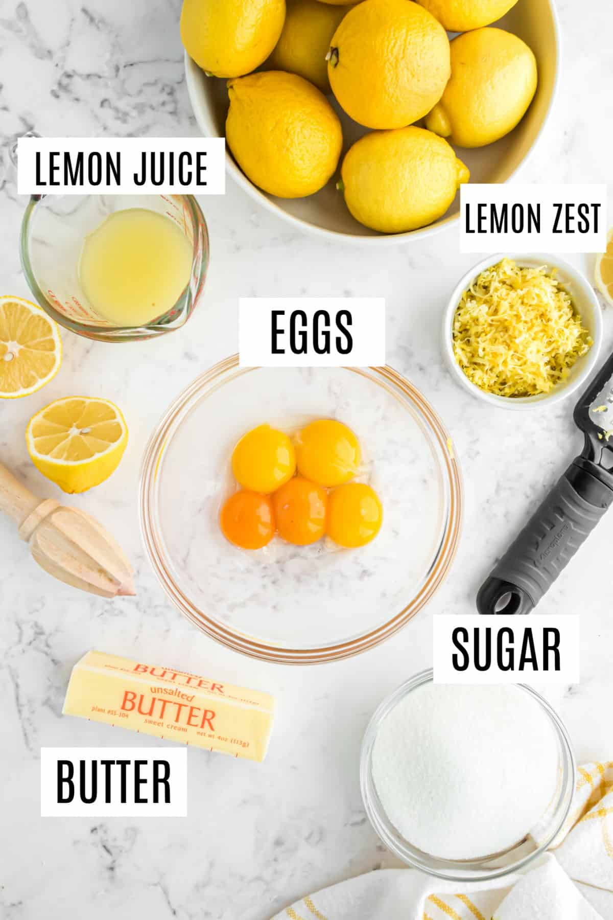 Ingredients needed for homemade lemon curd.