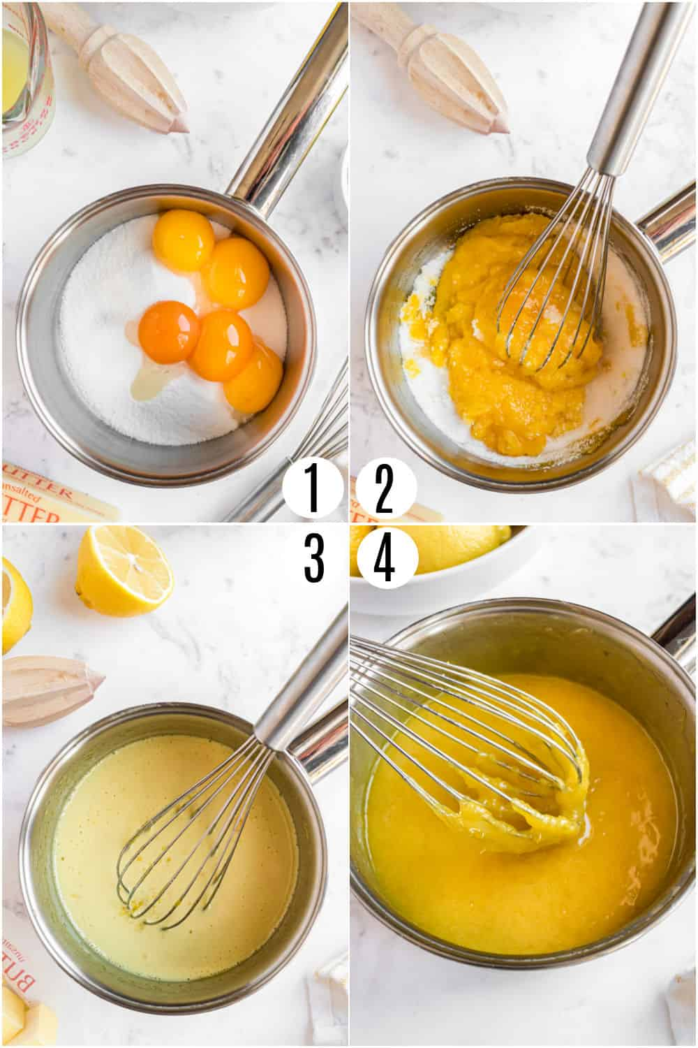 Step by step photos showing how to make homemade lemon curd.