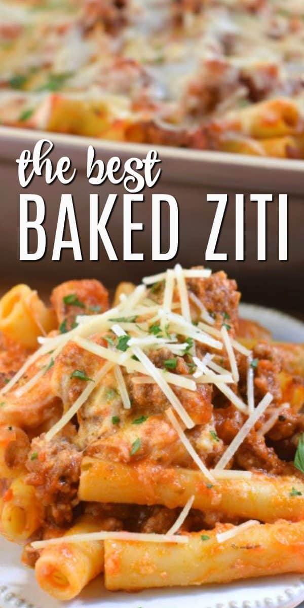 This easy Baked Ziti recipe has all the delicious layers of your favorite Italian dish. Perfect crowd pleaser, you'll love the hearty sauce and cheesy filling!