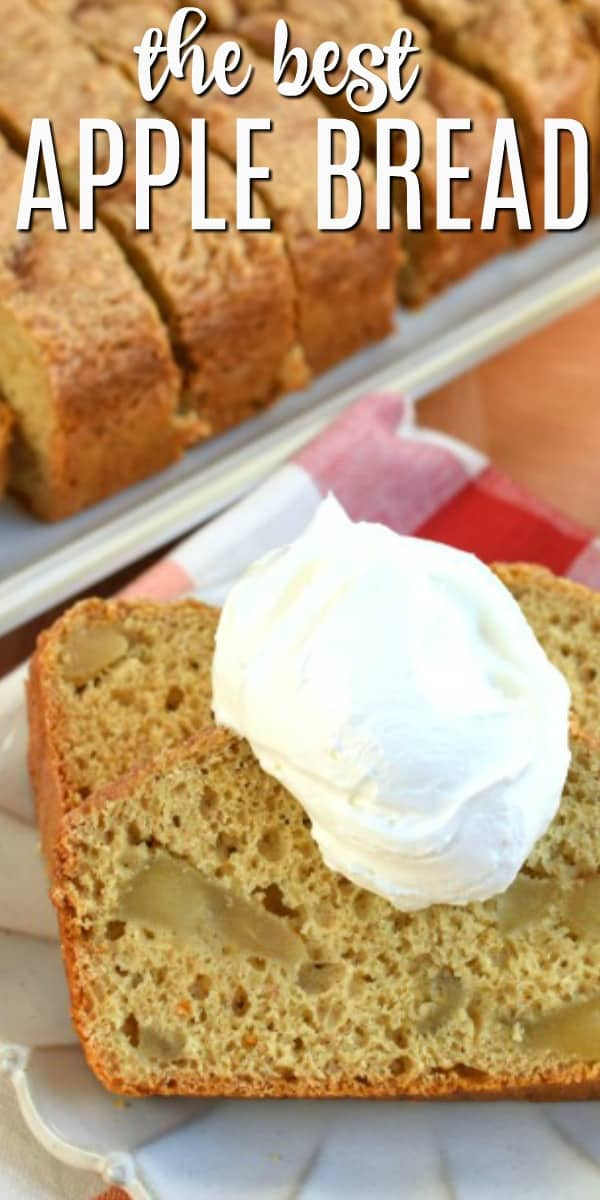 Apple Bread recipe bursting with cinnamon and apple pie filling! You'll love this easy 5 ingredient recipe for a delicious comfort food treat!