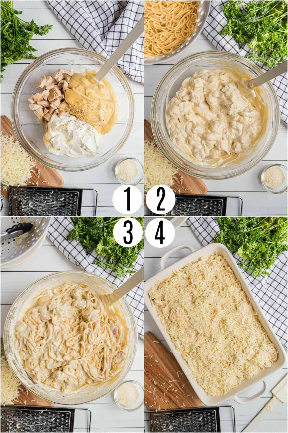 Step by step photos showing how to make Chicken Tetrazzini.