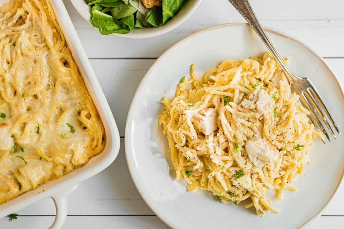 Chicken tetrazzini on a white dinner plate, silver fork, and 13x9 dish in background.