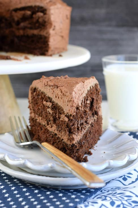 Slice of chocolate layer cake on a white plate and blue star napkin.
