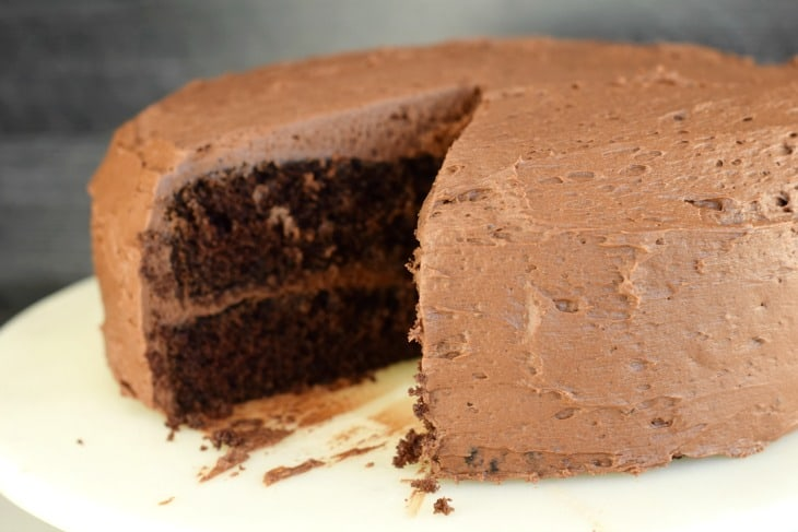 Chocolate frosted cake.