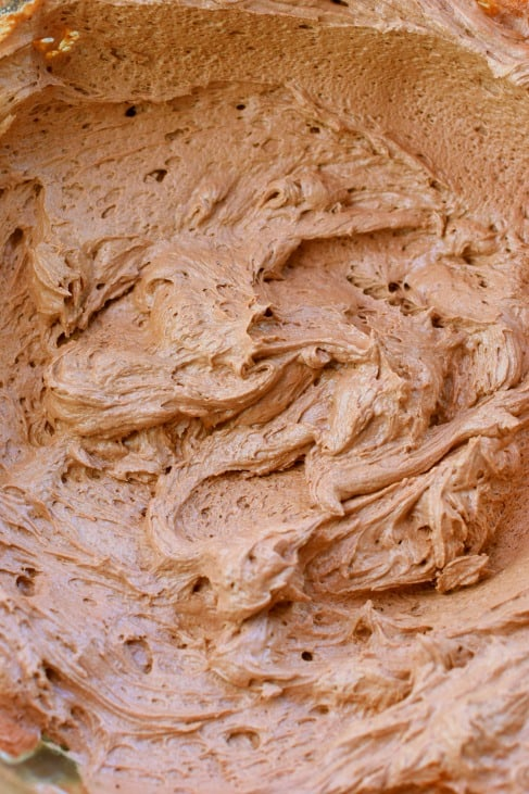Close up swirls of chocolate buttercream frosting