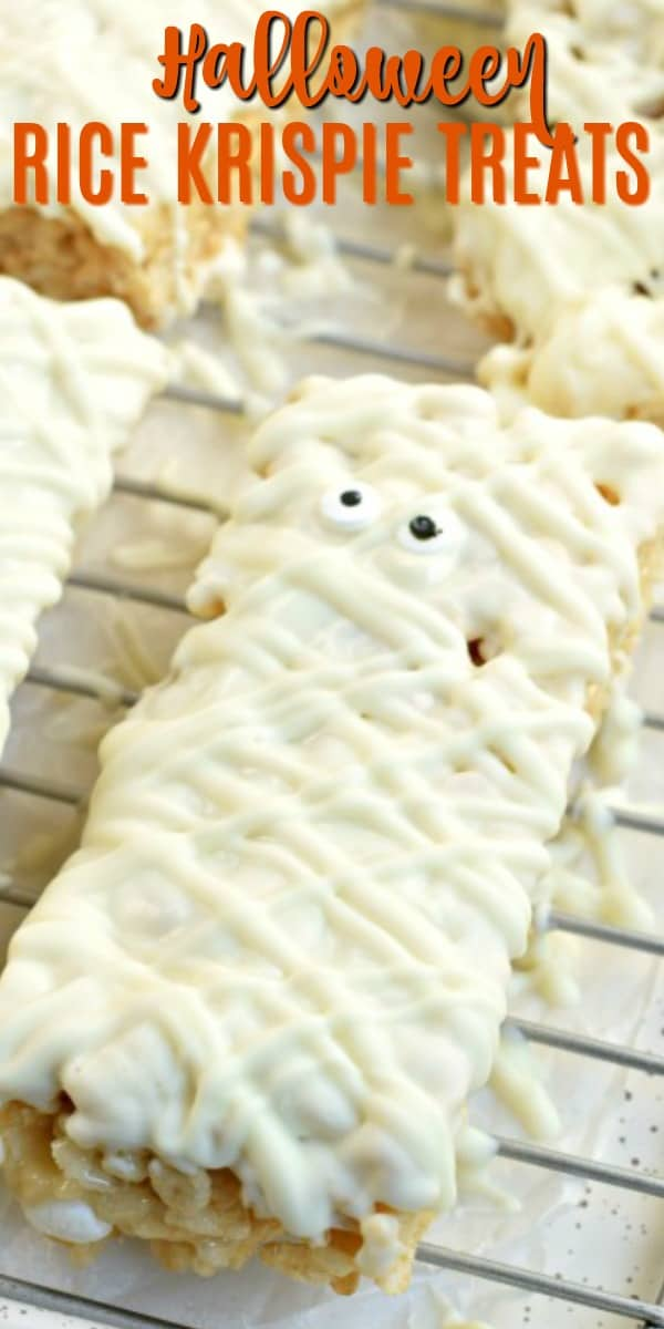 Fun and Festive, these easy, Halloween Mummy Rice Krispie Treats are the perfect party snack. So easy, the kids can help with this recipe too!