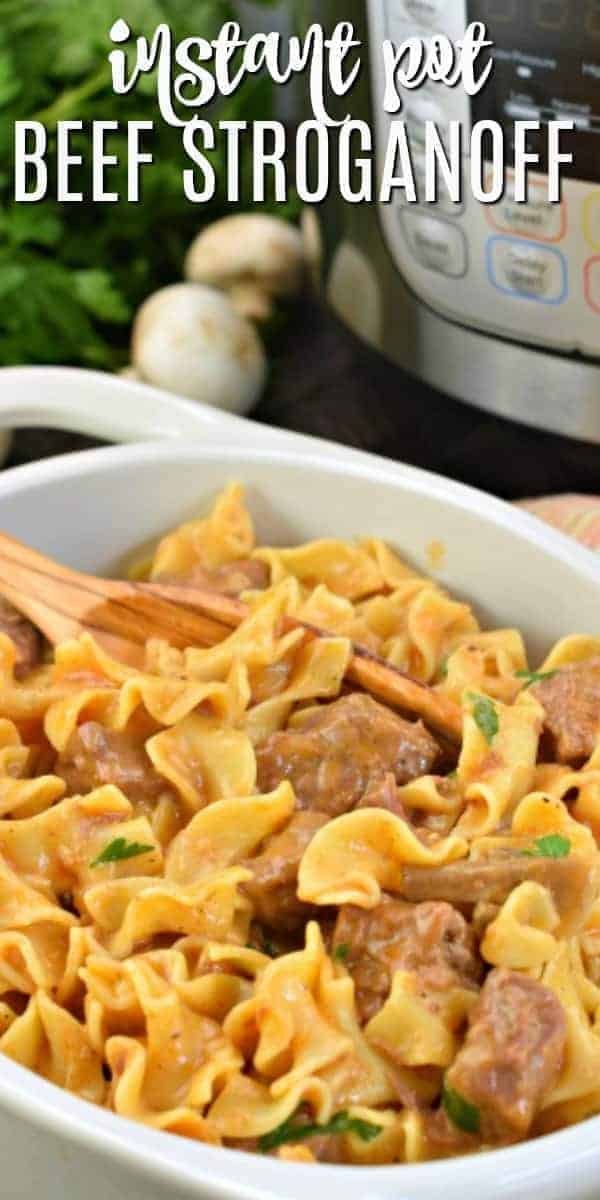 This Easy Instant Pot Beef Stroganoff Recipe is the perfect weeknight meal. Tender beef with a thick and creamy mushroom sauce. Your family will love it!