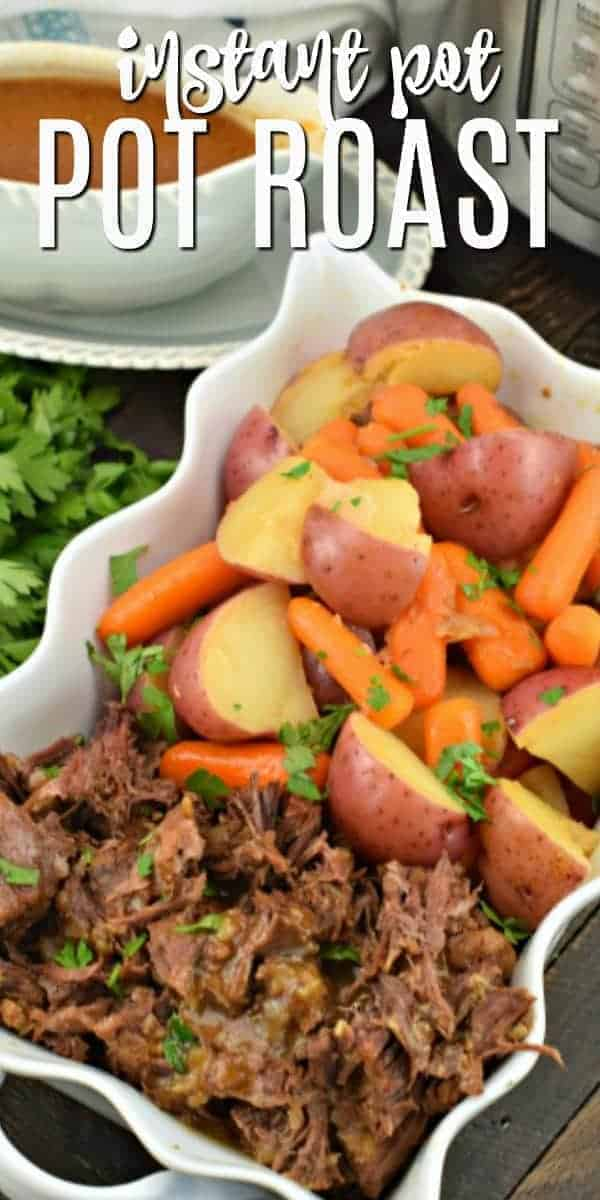 This easy Instant Pot Pot Roast recipe is fork tender, with a delicious, savory gravy and served with potatoes and carrots. It's the comfort food you have been craving!
